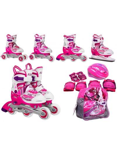 Detské korčule 4v1 + helma + chrániče 27-30 - Ružové