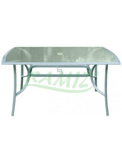 Záhradný hliníkový stôl 150/90 strieborný rám