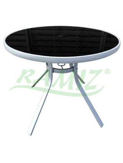 Záhradný stôl, okrúhly 90 cm, strieborný rám