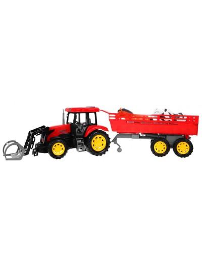 Traktor Červený + Vlečka so zvieratkami zvukmi