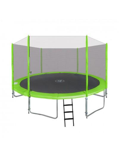 Záhradná Trampolína 366cm - Zelená + ochranná sieť + rebrík