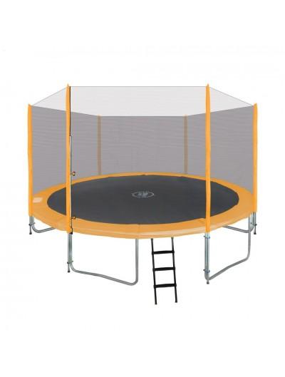 Záhradná Trampolína 427cm - Oranžová + ochranná sieť + rebrík
