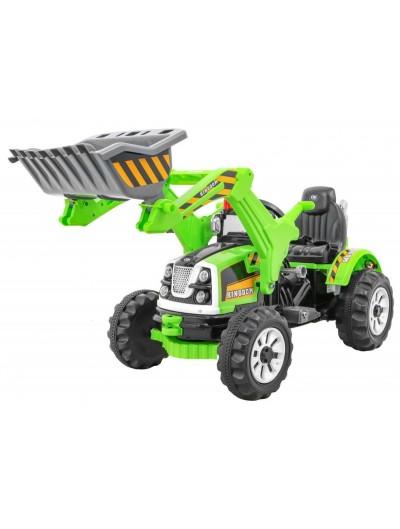 Elektrický traktor s radlicou 12V - Zelený