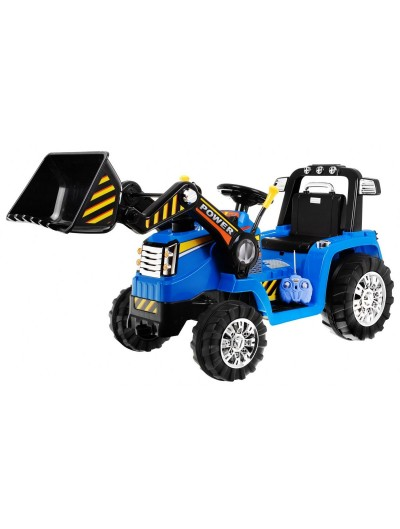 Traktor/bager na akumulátor modrý