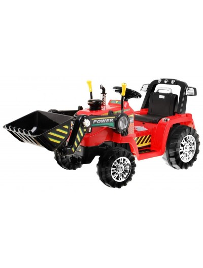 Traktor/bager na akumulátor červený
