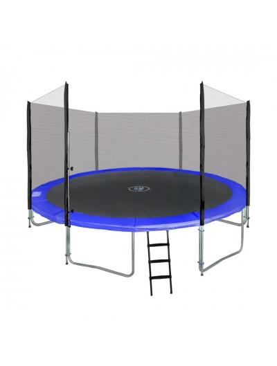 Záhradná trampolina 14 FT 427cm Modrá, s vonkajšou bezpečnostnou sieťou a rebríkom 14Ft / 427 cm