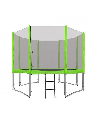 Záhradná Trampolína 305cm 10FT - Zelená + ochranná sieť + rebrík