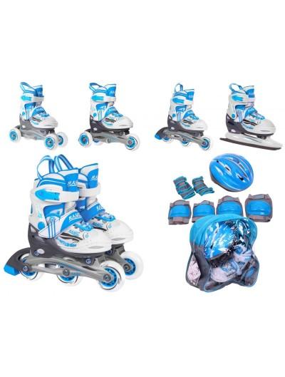 Detské korčule 4v1 + helma + chrániče 34-37 - Modré