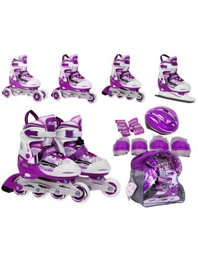 Detské korčule 4v1 + helma + chrániče 30-33 - Ružové