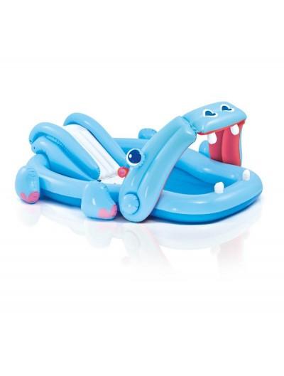 Nafukovací detský bazén so šmýkačkou Hroch 221 × 188 × 86 cm INTEX