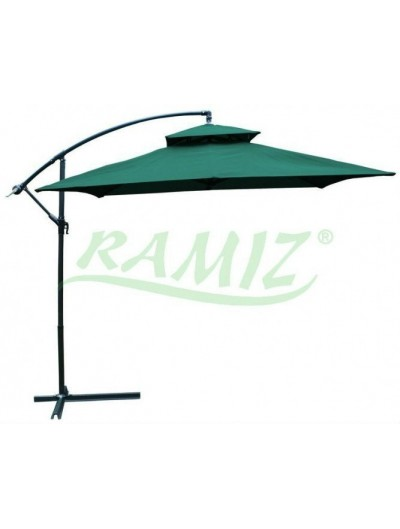 Záhradný skladací slnečník - Zelený 250 x 250