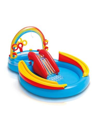 Nafukovací detský bazén dvojitý so šmýkačkou a fontánou 297 x 193 x 135, INTEX