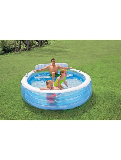 Nafukovací bazén Family s lavičkou 224cm x 216 cm INTEX