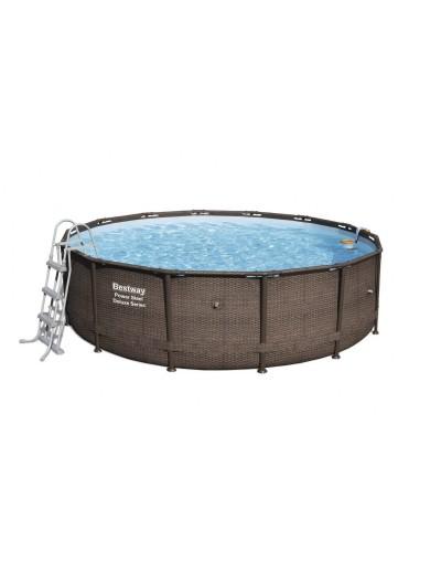 Okrúhly bazén 14FT 427x107 cm Power Steel Deluxe + filter Skimatic, ratanový dizajn BESTWAY