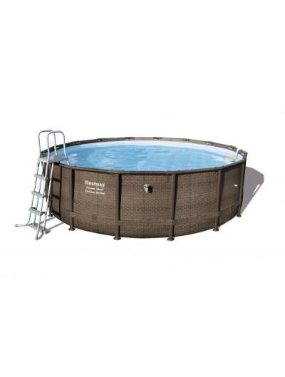 Okrúhly bazén 16 ft. 488x122 cm Power Steel Deluxe,  + filter Skimatic, ratanový dizajn BESTWAY