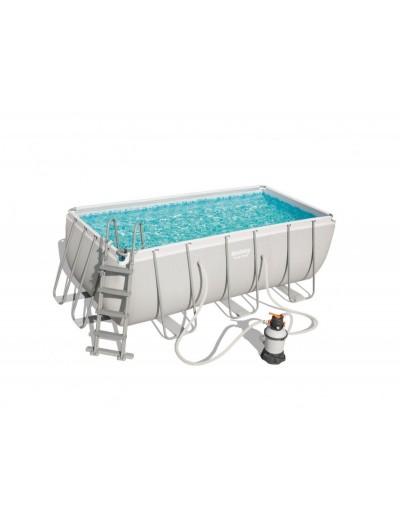Nadzemný záhradný bazén 412 cm x 201 cm x 122 cm piesková filtrácia POWER STEEL BESTWAY